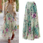 BOHO Women Floral Print Jersey Gypsy Long Maxi Skirt Summer Beach SunDress Beach