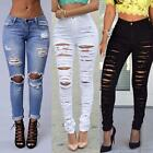 Women Vintage Ripped Knee Cut Skinny Boyfriend Long Jeans UK