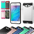 Brushed Metallic Hard Case+Shockproof TPU Skin Cover for Samsung Galaxy J7