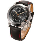 KS New Men's Black Leather Band Automatic Mechanical Date Day Sport Wrist Watch