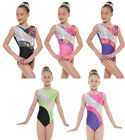 Nylon/Sparkly Foil Girls Gymnastics Sleeveless Leotard Gym Dancewear Age 4-12 ...