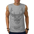 Deer Hog Face Wild Animal Wild Print Men Sleeveless T-shirt S-2XL NEW | Wellcoda