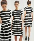 Summer Sexy Womens Stripe Short Sleeve Party Evening Cocktail Casual Mini Dress