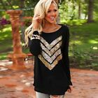 Sexy Women's Cotton Long Sleeve Tops Summer Casual Loose T-Shirt Blouse Tee New