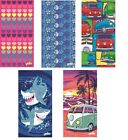 YELLO BEACH TOWEL, HOLIDAY TOWELS, PINK BLUE FUN COMIC DESIGN, CAMPER VAN TOWELS