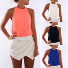 Sexy Women's Summer Casual Sleeveless Chiffon Tee Vest T Shirt Blouse Loose Tops