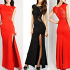 Women's Sexy Lace See-through Back Slim Bodycon Split Side Maxi Long Party Dress