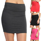 TheMogan Basic Stretch Cotton Foldover Waistband Bodycon Tube Mini Skirt