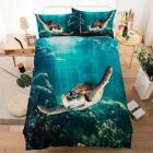 Tortoise Ocean Quilt Doona Cover Set Cotton Double Queen King Bed Duvet Covers
