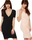 Womens V Neck Stretch Wrapover Curved Hem Ruched Short Sleeve Ladies Dress 8-14