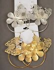 3 PAIRS OF SILVER OR GOLD TONE METAL EARRINGS , HOOP, FLOWER AND BUTTERFLY