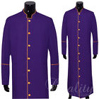 Clergy Robe Solid Purple Gold Piping Full Length Preacher Retail $200