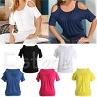 Women Sexy Summer Casual Tunic T Shirt Cold Shoulder Baggy Short Sleeve Blouse