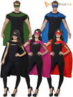Adult Superhero Cape + Eyemask Mens Ladies Fancy Dress Women Outfit Cloak + Mask