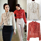 New fashion high-necked long-sleeved dot bow occupation shirts, casual T-shirt
