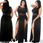UK Fashion Womens Summer Party Evening Lace Sleeveless Long Maxi Dress Plus Size