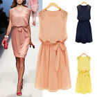 Fashion ladies temperament formal Slim sleeveless chiffon dress with beads New