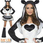 Cute Panda Chinese Animal Fancy Dress Ladies Black & White Costume Womens 6-18