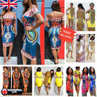 Women's Sexy Summer Bohemia Traditional African Print Dashiki Bodycon Mini Dress