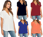 Women Chiffon Baggy Loose Fit Top V Neck T-Shirt Casual Blouse Short Sleeve