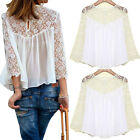 1 Pc Ladies Summer Casual Lace Crochet T Shirt Chiffon Hollow Long Sleeved Tops