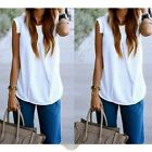 1 Pc Sexy Women Chiffon Sleeveless Top Tee White Casual Loose T Shirt