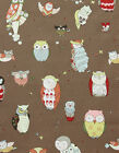 IT'S A HOOT OWLS CANVAS BROWN ALEXANDER HENRY FABRIC *** Free Oz Post ***