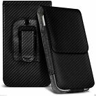 Black Carbon Fibre Leather Pouch Belt Clip Case Cover For Various Nokia Phones