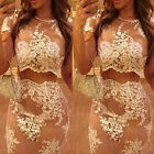 Womens Sexy Summer Floral Lace Hollow Out Bodycon Embroidered Party Dress