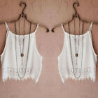 Fashion Lace Fringe Sling Vest White Camis Women Ladies Crop Top Tank