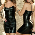 Ladies Backless Strapless Summer Leather Zipped Bodycon Mini Sling Party Dress
