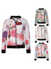 LADIES FLORAL PRINT WOMENS CROP BIKER BOMBER JACKET TOP SIZE 8-14