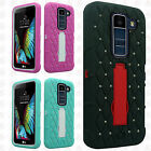 For LG Premier LTE HYBRID IMPACT KICKSTAND Dazzling Diamond Case Phone Cover