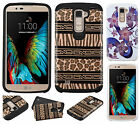 For LG K10 HARD Protector Hybrid Rubber Silicone Case Phone Cover + Screen Guard