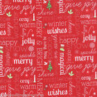 JINGLE CHRISTMAS WORDS RED MODA CRAFT QUILT SEWING FABRIC Free Oz Post *