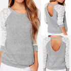 Aesthetic Stylish Casual Lace Long Sleeve Backless Cotton T Shirt Blouse 5645