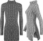 New Womens Knit Turtle Polo Neck Stretch Bodycon Long Sleeve Ladies Mini Dress
