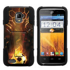 For ZTE Rapido LTE| Hybrid Hard Bumper Stand Case Football