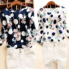 Vogue Women Slim Polka Dot Floral Casual OL Long Sleeve Round Neck Top Blouse AU