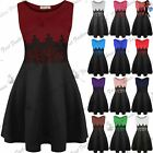 New Womens Mini Dress Ladies Sleeveless Waist Lace Flared Franki Skater Dresses