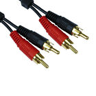 3m Long 2 x RCA (Twin Phono) Cable Speaker Amp Lead Male To Male Plug GOLD