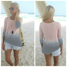Womens Loose Beauty Style Casual Long Sleeve Crew Neck T Shirt Loose Tops Blouse