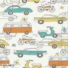 CIRCA 52 RETRO CARS BIRCH ORGANIC QUILTING QUILT COTTON FABRIC *Free Oz Post