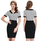 Formal Midi Vintage Short Sleeve Party Dress Polka Dots Splicing Bodycon Pencil