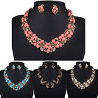 Fashion Jewelry Pendant Chain Crystal Leaves Choker Statement Necklace Earrings