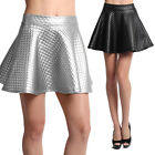 TheMogan Metallic Silver Quilted Faux Leather Flared A-line Mini Skater Skirt S