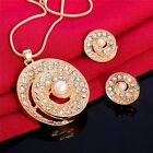 Round Design Mosaic Austrian Crystal Pendant Necklace Earrings Jewelry Set
