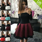 Women Sexy One Shoulder Skirt Dress Lace Skater Ladies Party Mini Dress