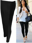 New Womens Black Wet Look Shiny Side Panel Ladies Stretch Long Leggings 8-14
