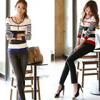 Women Long Sleeve Round Neck Striped Knit Sweater Pullover Tops Sanwood